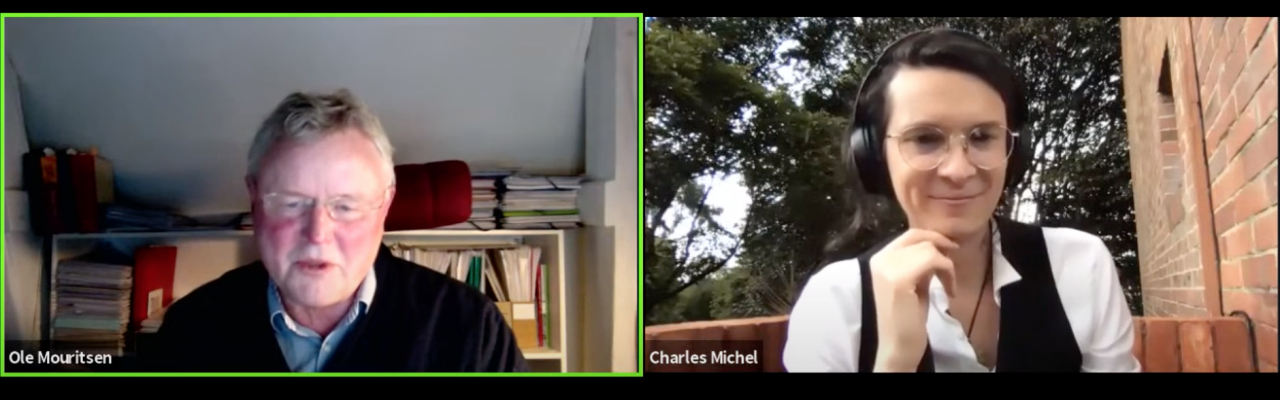 Professor Ole G. Mouritsen and Charles Michel. Screenshot from YouTube.